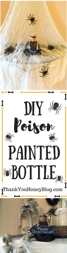 DIY Halloween Painted Bottle, DIY Halloween Painted Bottle, Crafts, Costumes ideas, Crafts, DIY, Recipes, Parties, Halloween Theme Parties, DIY, Spooky, Halloween, Fireplace Cover, DIY Halloween Decorations, Spooky, Decorate, DIY Spooky Halloween Fireplace Cover, Craft, Decorations, Decor, http://thankyouhoneyblog.com