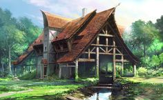 Elven trading house on the forest's edge.  (house by artcobain)