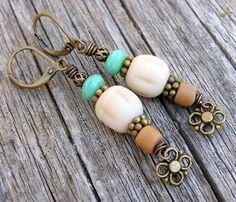 bohemian style dangle earrings with czech and by PinkPoppyStudio