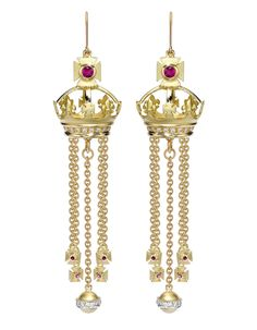 Theo Fennel 18ct Yellow Gold, Diamond & Ruby Chandelier Coronet Earrings