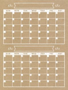 2 Month Calendar Vertical Family Planner Wall by BlissNotions