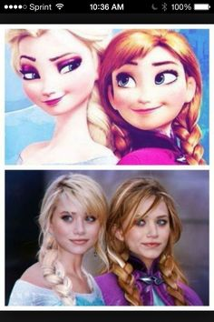 Can't believe I didn't notice this, my grandma showed me  Mary Kate and Ashley Olsen look just like Elsa and Ana