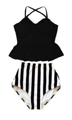 Black Underwire Long Peplum Tankini Top and Stripe Stripes