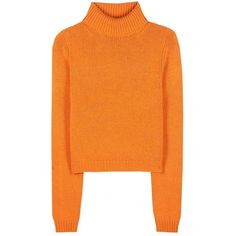 Acne Studios Sabia Wool Turtleneck Sweater ($300) ❤ liked on Polyvore featuring tops, sweaters, jumper, orange, woolen jumper, turtle neck top, orange jumper, polo neck jumper and turtle neck sweater