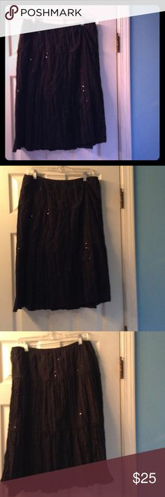 Adorable Vintage black sequined skirt Woman's XL Vintage 100% cotton elasticized waist skirt adorned with pretty clear colorless sequins. J K L A Skirts
