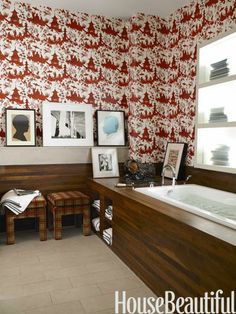 Jardin Chinois wallpaper by Christoper Norman in a New York loft bathroom. Design: Steven Sclaroff. Photo: Francois Dischinger. housebeautiful.com #bathroom #red #pattern #wallpaper