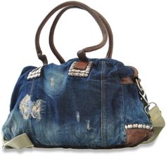 Distressed Studded Denim Bag with Leather Touches...LOVE this!