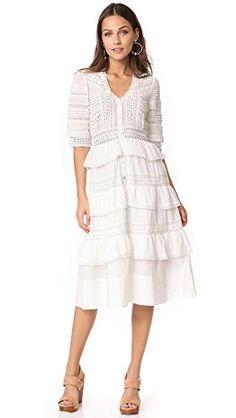 LOVESHACKFANCY Women's Rebecca Dress, Antique White, X-Small