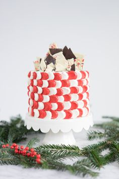 Brownie Cake with Peppermint Bark | feedfeed
