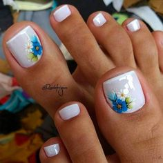 Summer Toes – 40 Best Summer Toe Nail Art for 2019 - Beauty Home Simple Toe Nails, Pretty Toe Nails, Summer Toe Nails, Cute Toe Nails, Toe Nail Color, Toe Nail Art, Nail Colors, Nail Nail, Acrylic Toe Nails