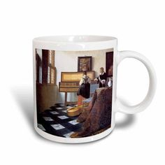 3dRose The Music Lesson, c. 1662 by Johannes Vermeer, Girl at the Piano, Ceramic Mug, 11-ounce