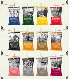 Wow what a collection of Tyrrells English Crisps by Big Fish snack packaging PD Chip Packaging, Packaging Snack, Wine Packaging, Food Packaging Design, Potato Crisps, Oats Snacks, Fish Snacks, Snack Brands, Packaging