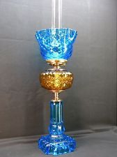 """United States Glass Company """"Americus"""" Amber-Blue-Banquet Lamp with Blue Shade"""