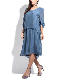 Look what I found on #zulily! Indigo Blue Roll-Tab Midi Dress #zulilyfinds