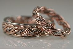 hers Rope Middle Five Strand Braided Ring with outer Bands