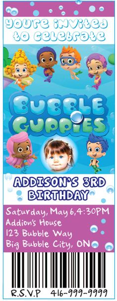 A personal favorite from my Etsy shop https://www.etsy.com/ca/listing/187744038/bubble-guppie-movie-ticket-birthday