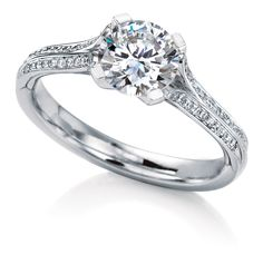 Oronsay Pavé engagement ring by MaeVona: Round brilliant-cut solitaire named after the Scottish island of Oronsay. Perfectly balanced classic design, with a sleek setting and tailored pavÈ diamond-accented shank that elegantly showcases the gemstone. Animation features design without diamond accents.
