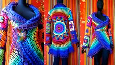 Crochet Coat - Purple Aztec Sun Mandala And Granny Squares (no pattern, just love to look at it to get inspiration)