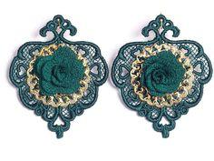 Dark green lace earrings by JennyJeshko on Etsy
