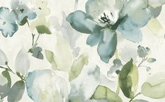 Sample Artistic Floral Wallpaper in Blues and Metallic design by Seabrook Wallcoverings