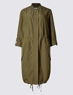 Modal Blend Longline Bomber Jacket Clothing