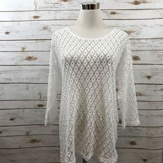 Chicos 2 Crochet Style Knit Top Overlay Shirttail 3/4 Sleeves White 2= LRG or 12  | eBay