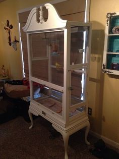 bird aviary from what, painted furniture, pets animals, repurposing upcycling, Lower side door