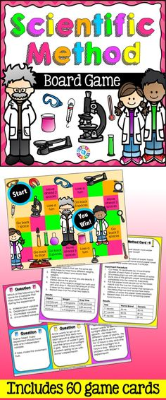 Scientific Method Board Game contains 60 game cards and a game board to help students practice key vocabulary and concepts related to the scientific method. This scientific method game works great as a pair/group activity, or for use in science centers. $ https://www.teacherspayteachers.com/Product/Scientific-Method-1996588