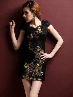 Black Short Embroidered Cheongsam / Qipao / Chinese Party Dress by AnneF