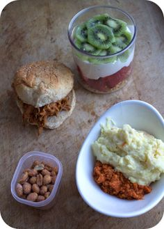 Easy lunch box ideas: butternut barbecue pulled pork on a whole-wheat bun; fruit and granola yogurt parfait; leftover turkey sloppy Joes wit...