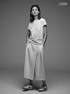 Sporty Chic Minimalism - white t-shirt & silk skirt, understated style