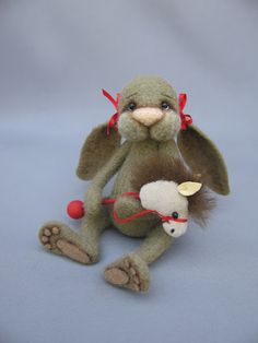 Needle Felted Rabbit Bunny with horsey toy by Nichole Encinas at blueberrycreations.com