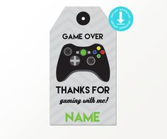 Video Game Favor Tags with Black Controller by PrintableStudio505