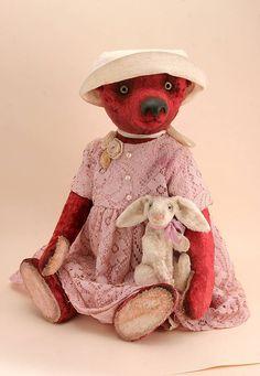 Авторский плюшевый медведь ручной работы хлопок Белое платье Панама