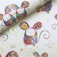 Papier Turnowsky motifs souris rehaussé de doré    Papiers fantaisie pour le cartonnage, l'encadrement, la décoration, les loisirs créatifs, la reliure