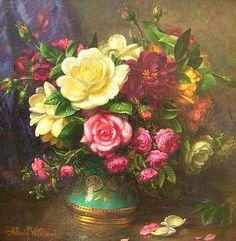 Albert George Williams  Roses in a Lustre Vase  20th century
