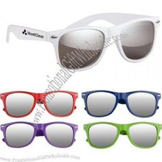 """Made of polycarbonate material. UV400 lenses provide 100% UVA and UVB protection. Mirrored lenses. Material: Polycarbonate Available PRODUCT Color(s): Blue, Lime Green, Purple, Red, White Decoration Area Size: 2"""" W x 1/4"""" H"""