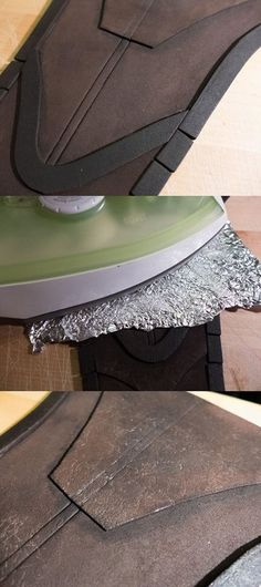 Mini tutorial: 1. Ye boring olde craft foam 2. Bring a iron and tin foil 3. Enjoy your fake leather!