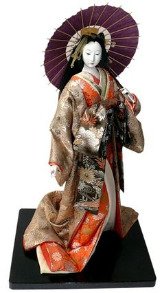Japanese oiran doll with parasol. S)