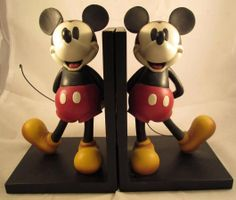 Disney Mickey Mouse Bookends Book Ends Vintage Set Classic Walt Disneys Standing