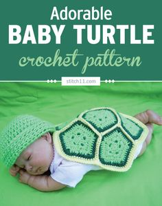 This Newborn/Preemie adorable baby turtle photo prop is easy to make and are just 6 crochet pentagons stitched together. An adorable photo prop for a sweet baby. This will look perfect paired with a matching beanie. Newborn Crochet Patterns, Easy Crochet Patterns, Baby Patterns, Crochet Turtle Pattern, Baby Cocoon Pattern, Love Crochet, Irish Crochet, Modern Crochet, Thread Crochet