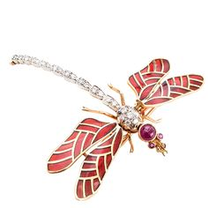 Enamel Ruby Diamond Dragonfly Pin | eBay