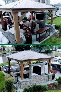 Check out this incredible outdoor entertainment area that Chris has created with Yardistry's 14 Aluminum roof Gazebo! This dream could be a reality for you too! Check out all the amazing rooms we have available to start your backyard project! Backyard Pavilion, Outdoor Pavilion, Outdoor Gazebos, Backyard Gazebo, Backyard Patio Designs, Yard Design, Pergola Patio, Pergola Designs, Outdoor Rooms
