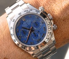 Daytona 116509 with sodalite stone dial - the Arab dial without diamonds it's the rarest and for me the most beautiful dial for a 16509  #rolex#rolexero#RolexWrist#daytona#chronograph#cosmograph#116509#sodalith#jeans#blue#instapic#instagood#style#fashion#instamood#love#instalove#instalike#instapic#picoftheday#pictureoftheday#mondan#MondaniWeb#ex_omega#