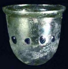 Extremely Rare Ancient Iridescent Green Blue Glass Frankish Beaker
