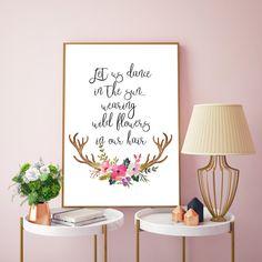 Let us dance in the sun with wildflowers in our hair,  Floral deer print, Watercolor deer horn, Floral antler wall art, Deer skull floral by MSdesignart on Etsy