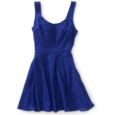Aeropostale Lace Tie-Back Dress ($15) ❤ liked on Polyvore featuring dresses, vestidos, robes, short dresses, flower dress, blue mini dress, a line cocktail dress and short lace dress