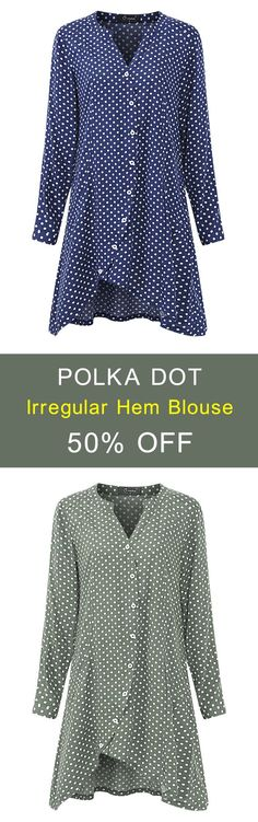 O-NEWE L-5XL 6 Colors Polka Dot Irregular Hem Blouse. #women #blouse #fashion http://feedproxy.google.com/fashionshoes1
