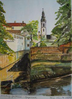 Speyer- Speyerbach Gouache, Unikat, gemalt und signiert von Heinz Schmitz