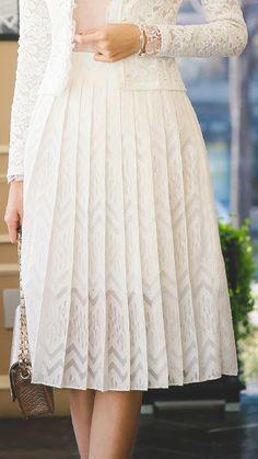 StyleOnme_Shining Chevron Pleats Midi Skirt #skirt #midiskirt #chevron #zigzag